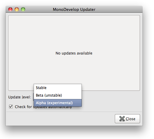 MonoDevelop Updater - MonoTouch 1.9.0 Alpha
