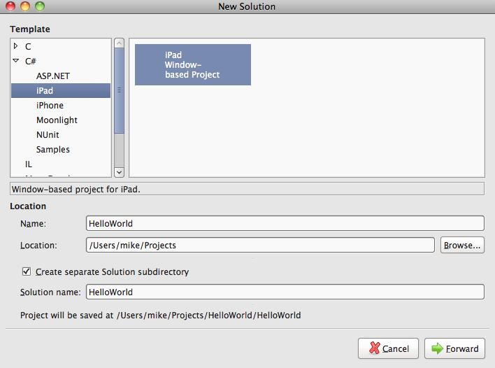 MonoDevelop iPad Project